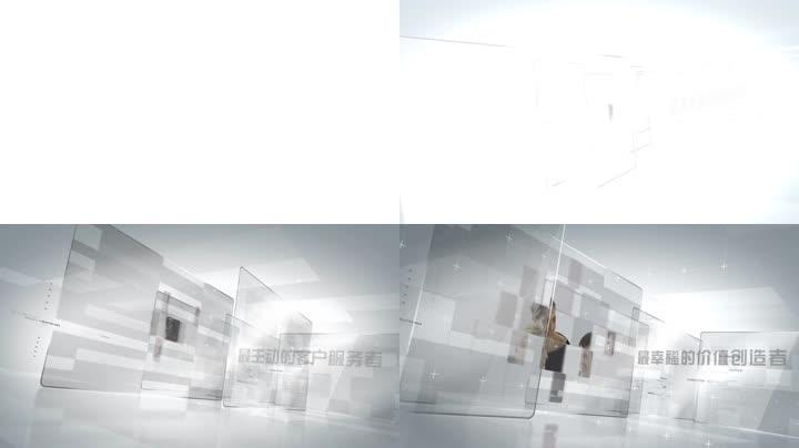 干净简洁玻璃企业高端商务图文展示