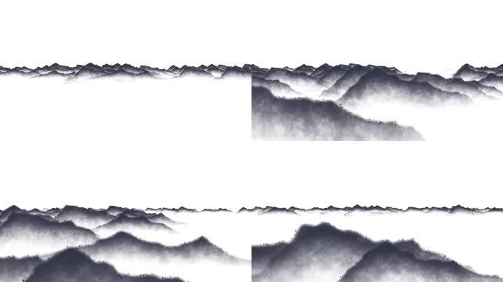 水墨群山穿梭特效素材(通道循环)