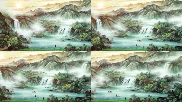 中国风水墨画锦绣河山背景视频