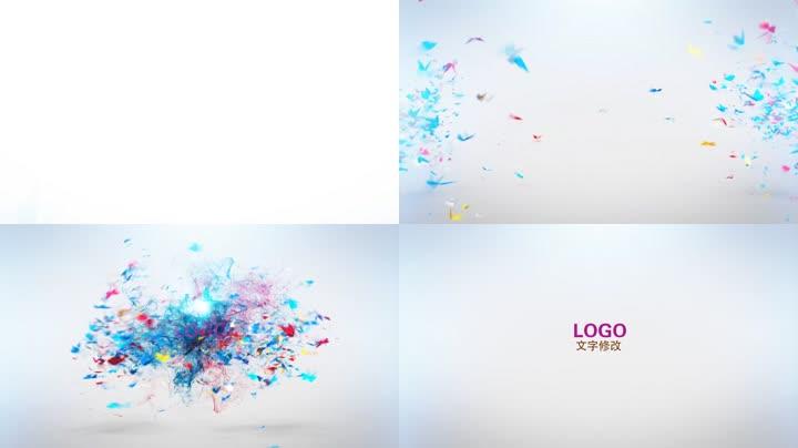绚丽彩色蝴蝶飞舞汇聚LOGO标志