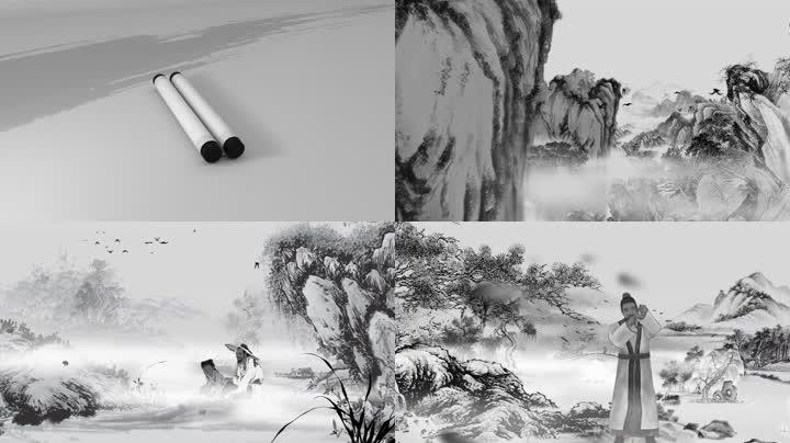 中国风水墨卷轴山水文化片头宣传片