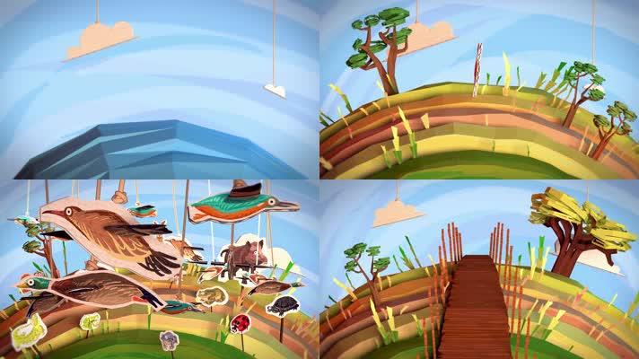 卡通森林海洋保护动物环保创意视频