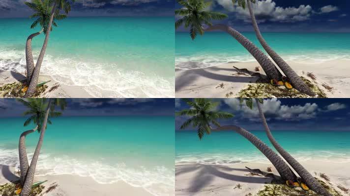 大海沙滩海滩漂流瓶椰子树