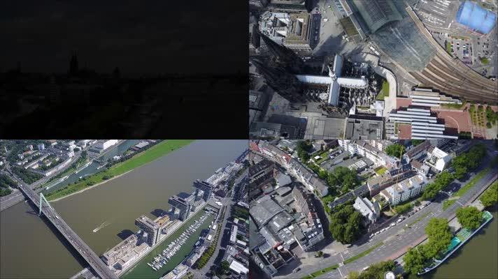 航拍德国科隆城市全景