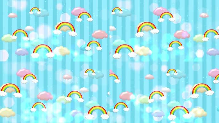 梦幻彩虹背景卡通循环