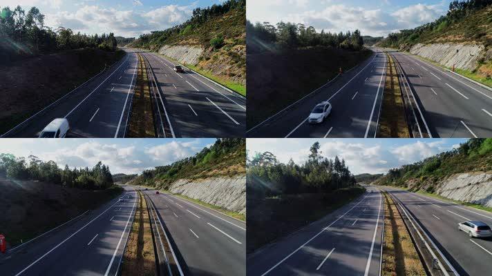 航拍道路 交通 车辆 桥梁