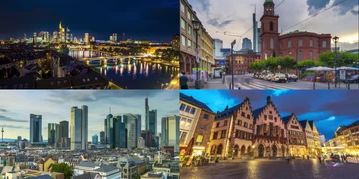 4k德国法兰克福城市景观延时摄影