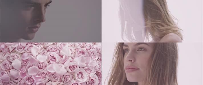 美女模特美容护肤玫瑰花精油视频素材