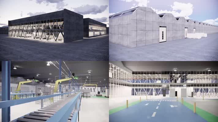 4k现代工厂厂房三维模型