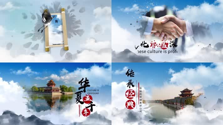 大气卷轴水墨中国风图文展示AE模版