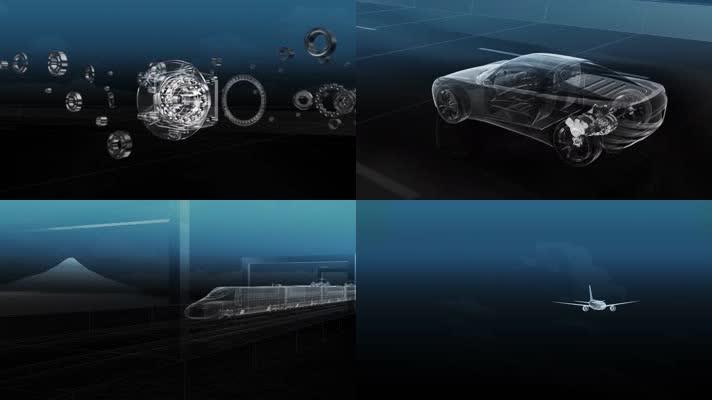 三维汽车风车航空工业齿轮动画