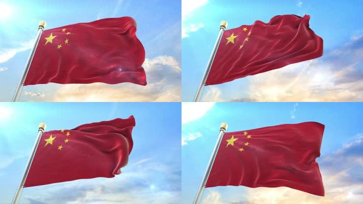 【4K原创】国旗迎风飘扬延时高速摄影红旗