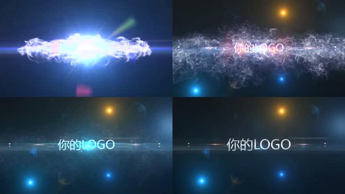 蓝色炫彩光线LOGO标志展示片头Pre模板
