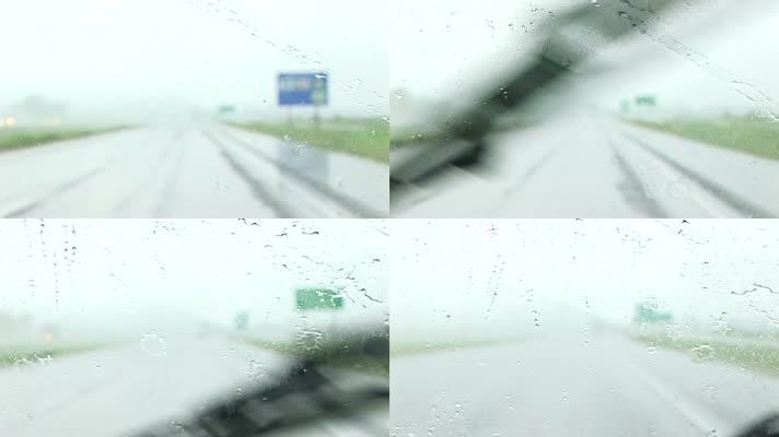 下雨 快速开车 驾车主观镜头
