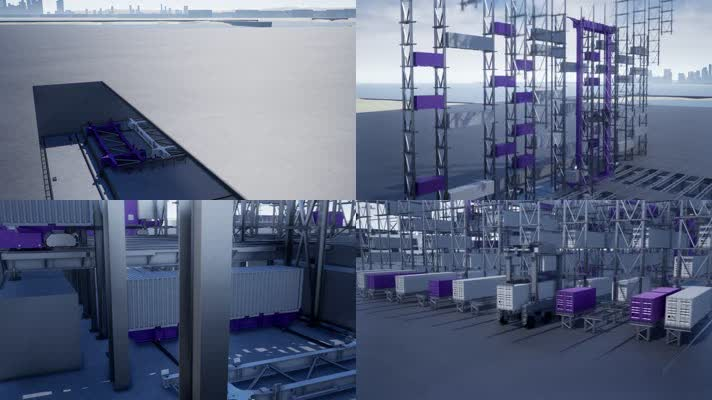 集装箱码头三维动画,无人码头