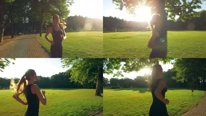 美女公园晨跑