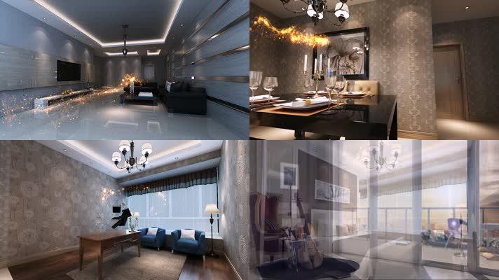 三维建筑室内生长动画视频