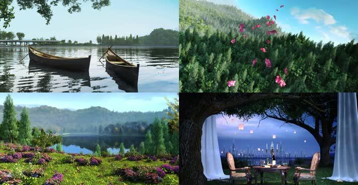 三维湖面动画意向视频素材