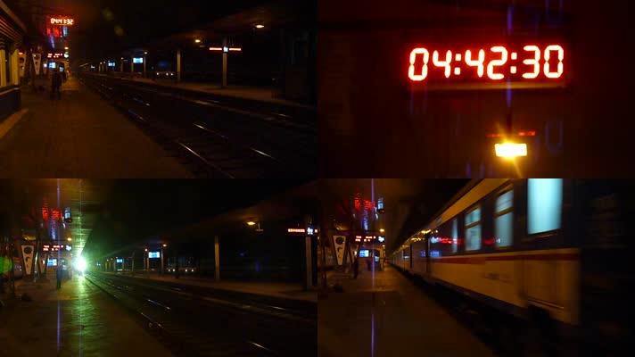 凌晨站台-火车进站