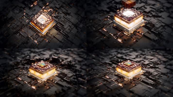 金色芯片电路板AE模板(无插件)