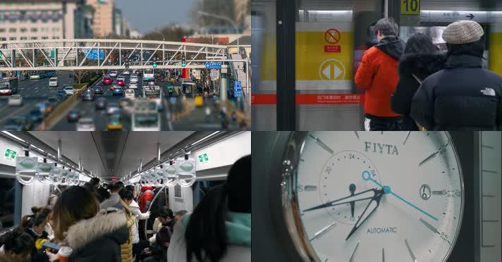 【原创】4k城市车流人群背影