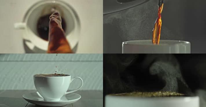 倒咖啡慢速,多角度慢镜头