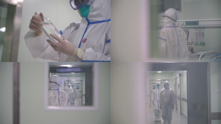 情医院医生隔离服走廊加油鼓劲