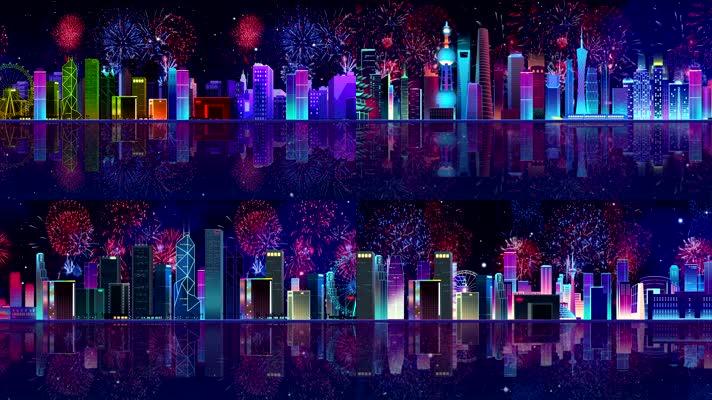 新年烟花万家灯火城市夜景舞台背景音乐素材