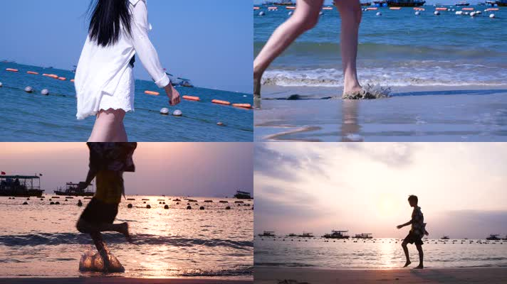 原创女孩心事海边沙滩漫步