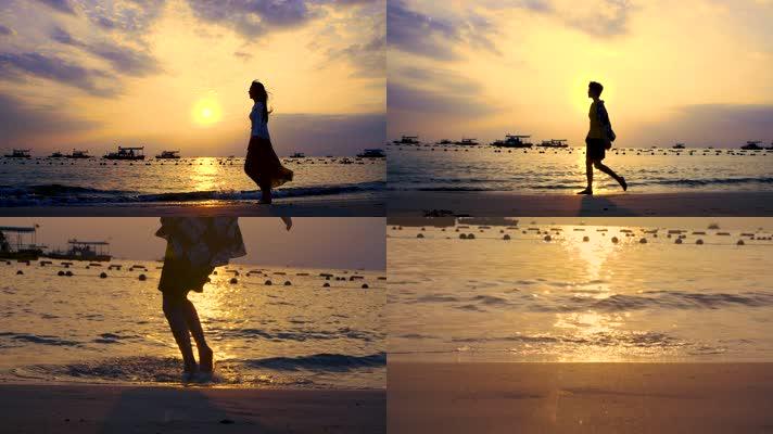 原创夕阳海边漫步女孩剪影