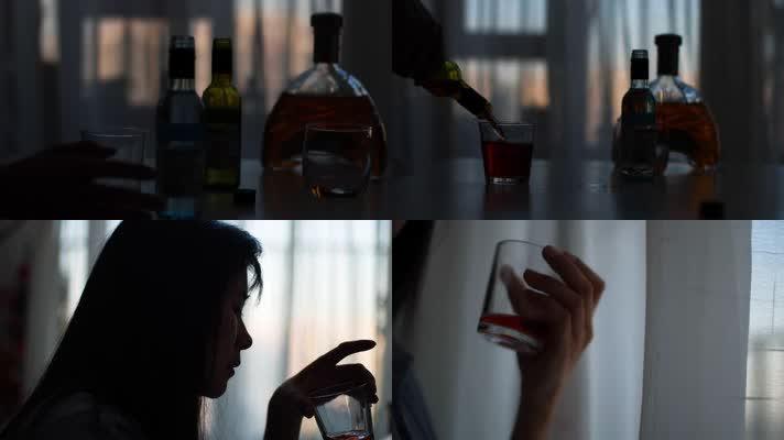4K原创伤感女孩独自在家喝酒