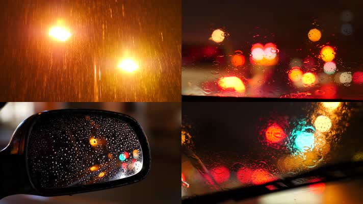 4K原创城市下雨开车彷徨伤感情感视频