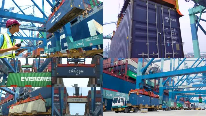沿海码头轮船集装箱物流