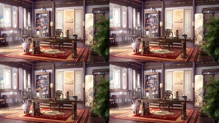 古代大户人家书房舞台背景