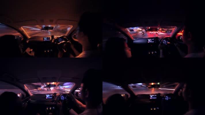 晚上开车,开车第一视角延时