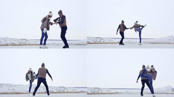 情侣玩耍,情侣滑冰,恋人恋爱情侣情人爱人