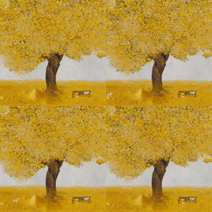 唯美水彩油画小动画秋天黄色落叶