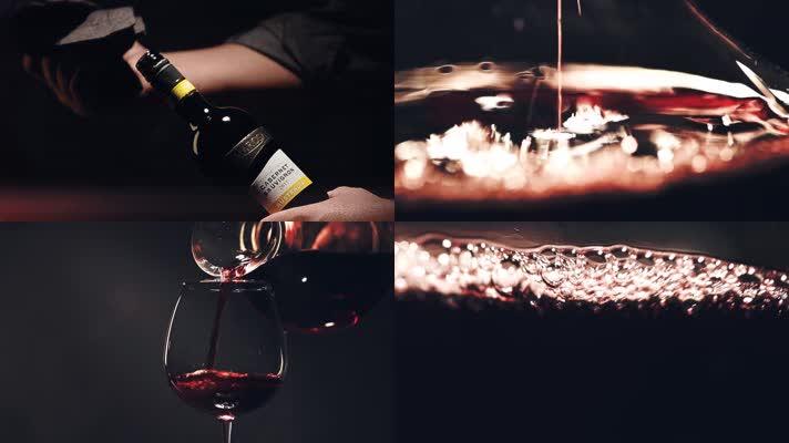 唯美倒入红酒葡萄酒晃动酒杯特写高端商务
