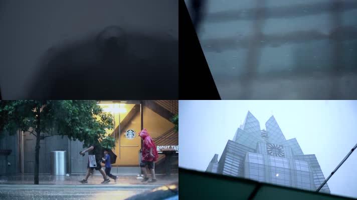 城市雨景,骑车汽车,行人建筑