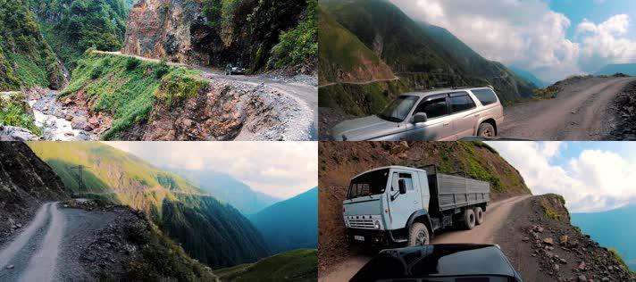 危险山路,汽车开车,第一视角