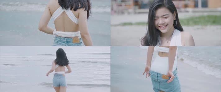 美女海边漫步,大海美女,沙滩美女