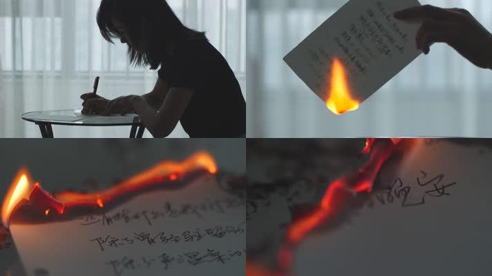 写信写日记烧毁信件燃烧失恋4k素材视频
