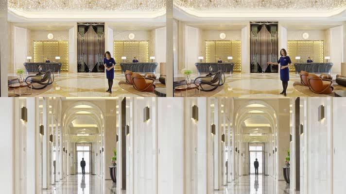 酒店别墅豪宅,入户大堂,美女欢迎