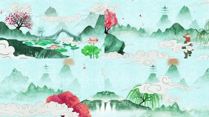 中国风水墨清明节视频素材