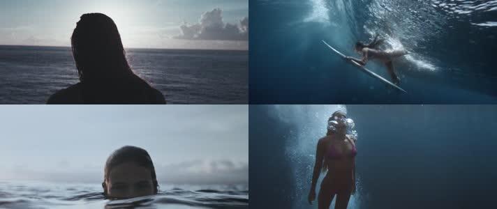 美女潜水 冲浪 水下摄影 唯美 水泡 气