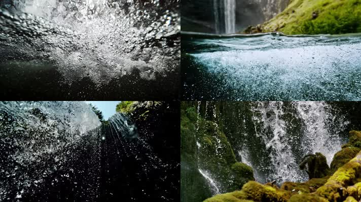 4K生态水花气泡泉水溪流瀑布,壮观水资源