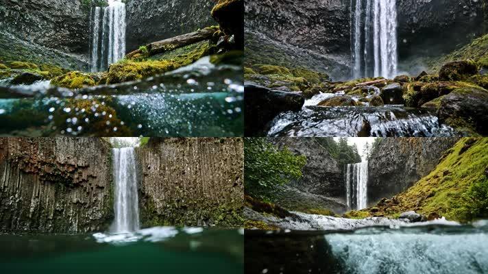 4K瀑布流水升格水面矿泉水,水资源生态宣传