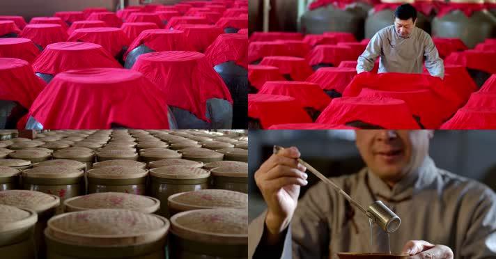 4K电影机拍摄酿酒大师酒缸古法酿造