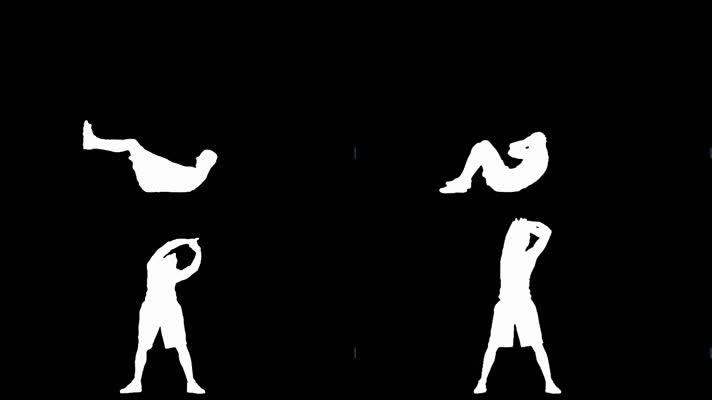 透明通道剪影打拳热身