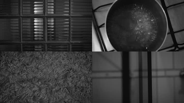 黑白孤独独居房间室内空境